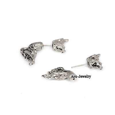 Fashion Silver Color Polygon Decorated Earrings