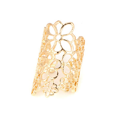 Sapphire Gold Color Hollow Out Flower Asujewelry