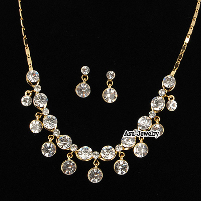Tungsten White Round Shape Design Czech Diamond Jewelry Sets
