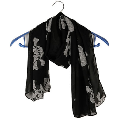 Fashion Purple Flower Pattern Decorated Scarf