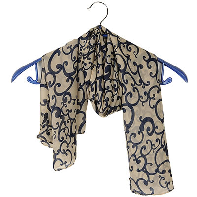 Fashion Navy Bags Pattern Decorated Square Shape Scarf