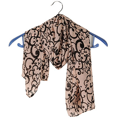 Trendy Pink Leaf Pattern Decorated Color Matching Simple Scarf