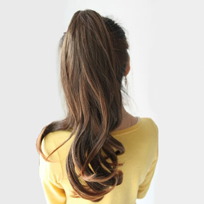 expression light brown slightly curled ponytail high temp fiber wigs