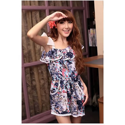 Fashion Black Flower Pattern Decorated Dress