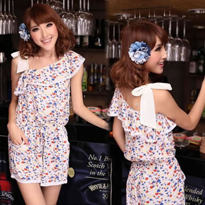 Fashion Multi-color Flower Pattern Decorated Off Shoulder Design Simple Dress