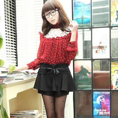 Fashion Rose Red Pure Color Decorated Irregular Shape Design Skirt