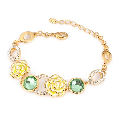 Mechanic Brown Gemstone Decorated Simple Design Alloy Fashion Bracelets