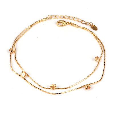 Fashion Silver Color Oval Shape Diamond Decorated Simple Anklet