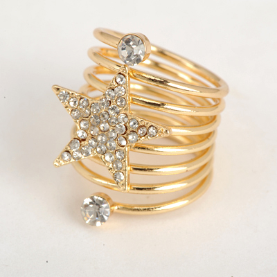 Awesome Gold Color Good Quality Inlaid Drill Star Decorated Spring