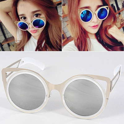 564b6808aa797 Creative Silver Color Round Frame Simple Design Resin Women Sunglasses ...