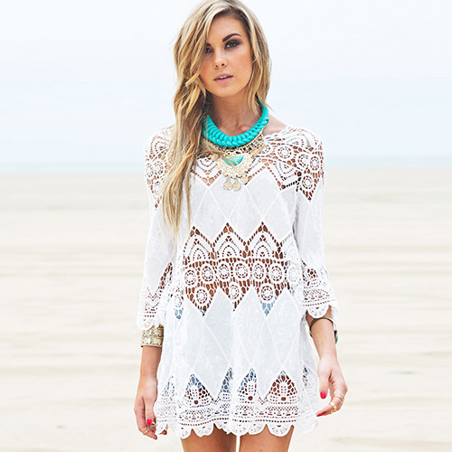 Sexy white flower pattern hollow out design bikini cover up smock mightylinksfo