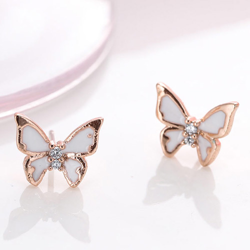 Fashion White gold Color Diamond Decorated Butterfly Shape Design