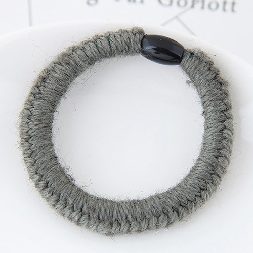Fashion Gray Pure Color Decorated Weaving Design Simple Hair Band