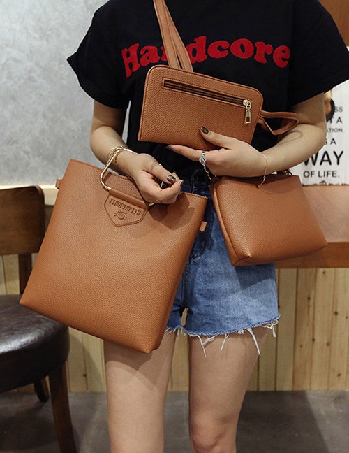 Trendy Light Brown Pure Color Decorated Simple Shoulder Bag (3pcs)