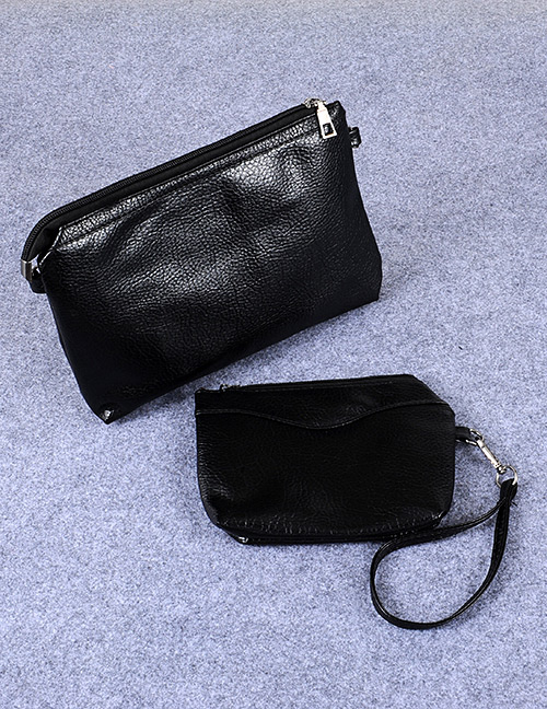 Fashion Black Rectangle Shape Decorated Pure Color Hand Bag (2 Pcs)