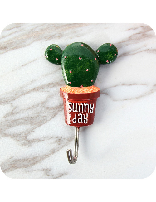 Fashion Red Cactus Shape Decorated Color Matching Sticky Hook