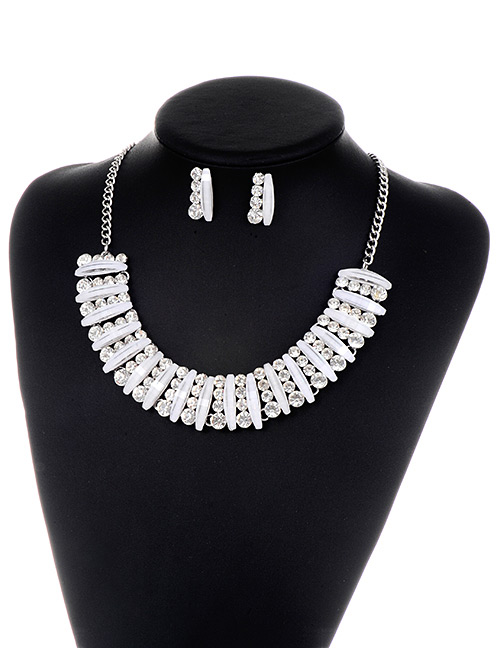 Fashion Silver Color Diamond Decorated Geometry Pure Color Jewelry Set