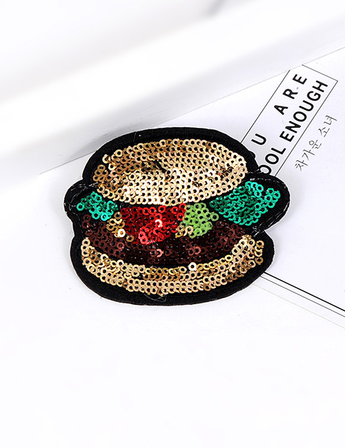 Trendy Multi-color Sequins Decorated Hamburgers Shape Simple Brooch
