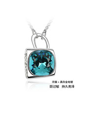 Homemade color Blue Heart Lock Crystal Crystal Necklaces