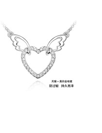 Boxed White Heart Shape Decorated Simple Design Zircon Crystal Necklaces