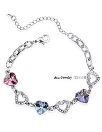 Varsity Pinkish Purple Diamond Decorated Simple Design Alloy Crystal Bracelets