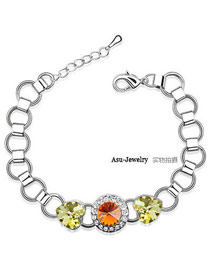 Portable yellow topaz Yellow Bracelet Alloy Crystal Bracelets