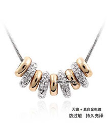 Stylish Gold Color Letter Love You Decorated Simple Design Cuprum Crystal Necklaces