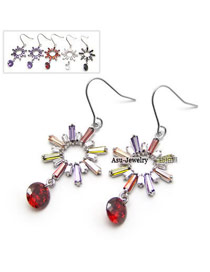 Elegant Silver Color Diamond Decorated Clover Shape Design  Cuprum Fashion earrings