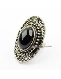 Trendy Multi-color Oval Shape Diamond Decorated Hollow Out Design Ring