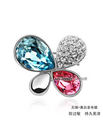 Etcetera sea blue + Rose Red Brooch Alloy Crystal Brooches