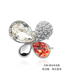 Executive white + water lilies red Red Brooch Alloy Crystal Brooches