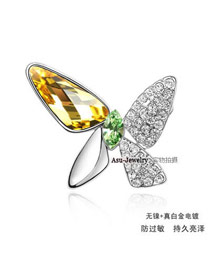 Tummy Gold Color Brooch Alloy Crystal Brooches