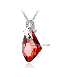 Apparel Red Dolphin Love Crystal Crystal Necklaces