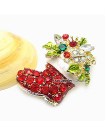 Fashion Red Oval Shape Decorated Bowknot Brooch