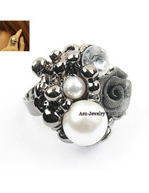 Fashion Antique Silver Round Balls Decorated Pure Color Opening Ring