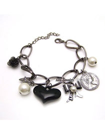 Elegant Silver Color+black Square Shape Design Multi-layer Bracelet