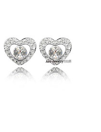 Fashion Silver Color Round Shape Diamond Decorated Bend Earrings