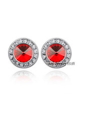 Luxury Plum Red Diamond Decorated Simple Round Shape Earring