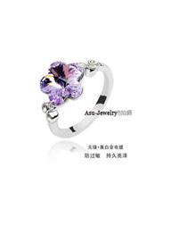 Sample White Diamond Decorated Flower Design Zircon Crystal Rings