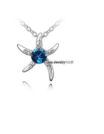 Boxed Dark Blue Love Starfish Crystal Crystal Necklaces