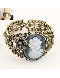 Trending Black Flower Patterm Oval Stone Decorated Opening Design Alloy Fashion Bangles