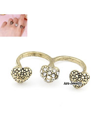 Wide Gold Color Three Heart Alloy Korean Rings