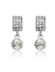 Luxurious Olive Green Diamond Decorated Round Shape Design  Cuprum Crystal Earrings