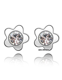 Colorful Pink Four-Leaf Clover Design Zircon Crystal Earrings
