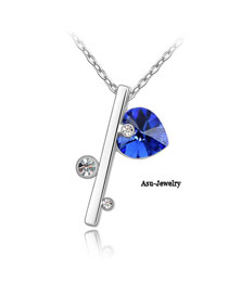 French Blue Chain Of Love Crystal Crystal Necklaces