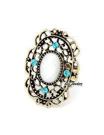 Military Gold Color Big White Rhinestone Alloy Korean Rings