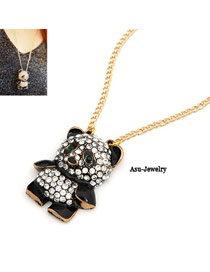Beige Black Cute Decorated With Rhinestones Panda Alloy Korean Necklaces