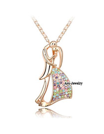 Diy Rose gold Multicolour Tanabata Lovers Crystal Crystal Necklaces