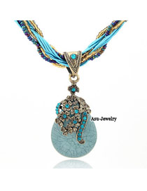 Jogging Blue Water Drop Shape Alloy Beaded Necklaces