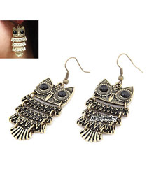 Vintage Black Tassel Pendant Decorated Oval Shape Design Alloy Korean Earrings